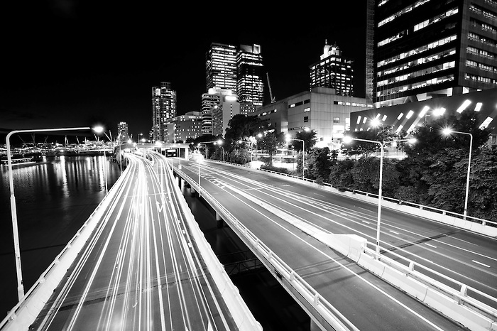 Black and White Photo of Light Trails on a Highway in Brisbane at Night, Queensland, Australia